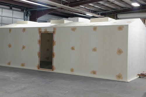 13'X30' BUILDING WITH ROOF ACCESS HATCHES HEADED FROM THE FOAM DEPARTMENT TO GET LAMINATED IN GLASS